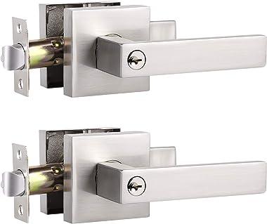 2 Pack Universal Straight Door Lock Levers, Satin Nickel Finish Entry Door Handle Set Keyed Alike Door Lockset