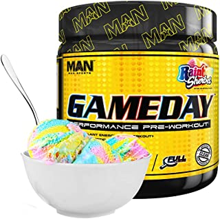Man Sports Game Day. Rainbow Sherbet Flavored Pre Workout Energy Drink Mix with Natural Caffeine. (30 Servings)