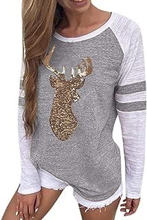 ZEFOTIM Festival Christmas Womens Reindeer Blouses T-Shirt Xmas Long Sleeve Tops