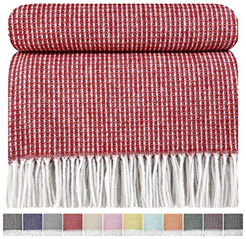 STTS International Baumwolldecke sehr weiches Plaid Wohndecke Kuscheldecke in versch. Farben Baumwolle Marbella (140 x 200 cm, Rot)