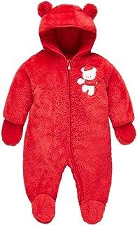 Bebé Traje de Nieve Ropa de Invierno Mameluco con Capucha Fleece Pelele Rojo 9-12 Meses
