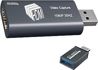 GUANLI HDMI 1080P HD オーディオ ビデオ キャプチャー ボード 日本語取扱説明書付き ポータブル ビデオ キャプチャーデバイス(変換アダプタ付き) ゲーム録画機器 画面共有 ビデオレコーダー ライブ 生放送 ライブ会議用 3...