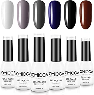 TOMICCA Gel Polish Set Dark Grey Blue Series Shiny Gel Nail Polish Kit, Easy to Apply, Sock Off, 6 Fall Colors, 10ml/Bottle, UV LED Lamp Required