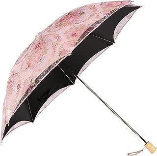 Anti-UV Embroidered Sun Protection Folding Parasol Umbrella, UPF 40+