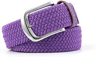 SGJFZD Men's Canvas Belt Elastic Woven Belt Fashionable Ladies Casual Elastic Belt (Color : Purple, Size : 107 * 3.3cm)