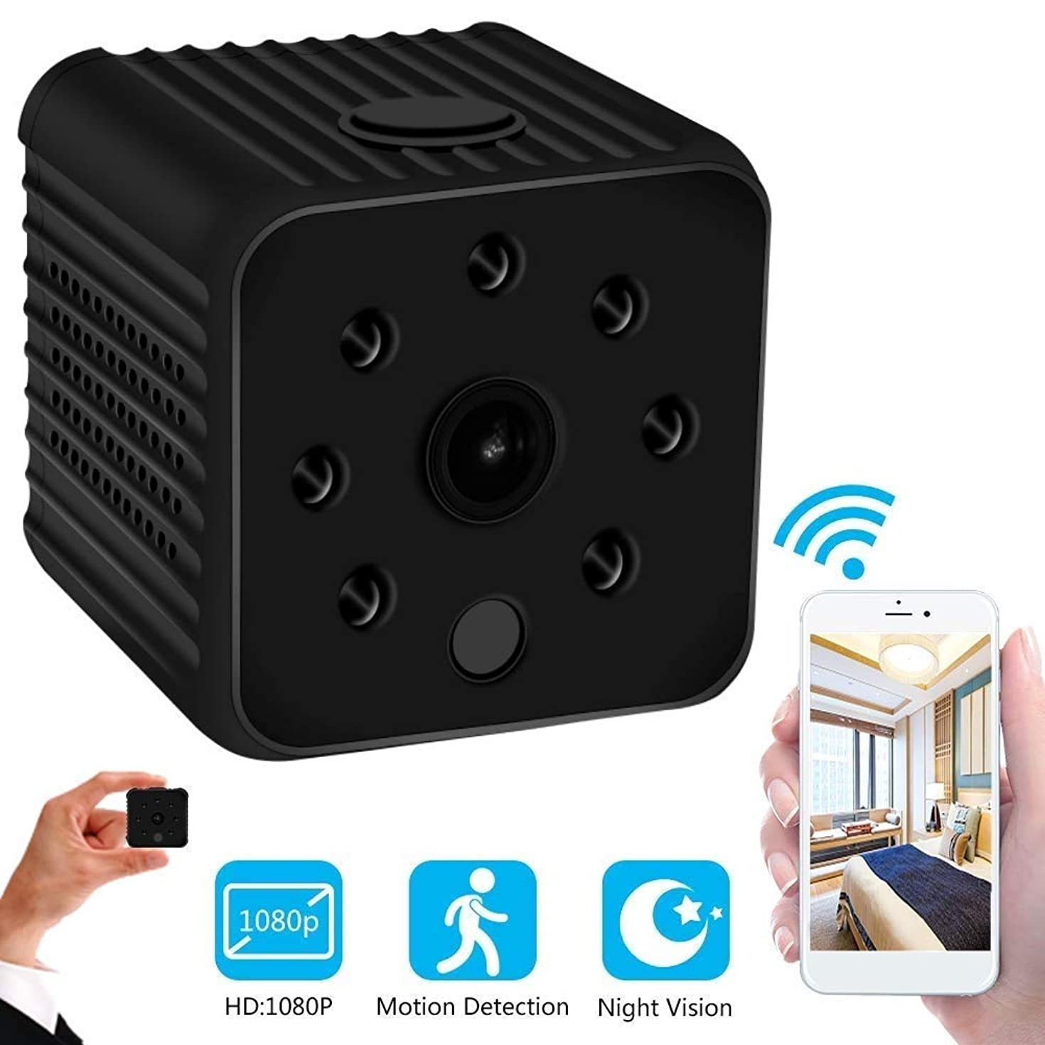 GXSLKWL Mini Spy Camera Wireless Hidden HD 1080P Spy Camera with Audio, WiFi Nanny Cam Built-in Battery with Night Vision and Motion Detection Mode (Color : No Memory Card)