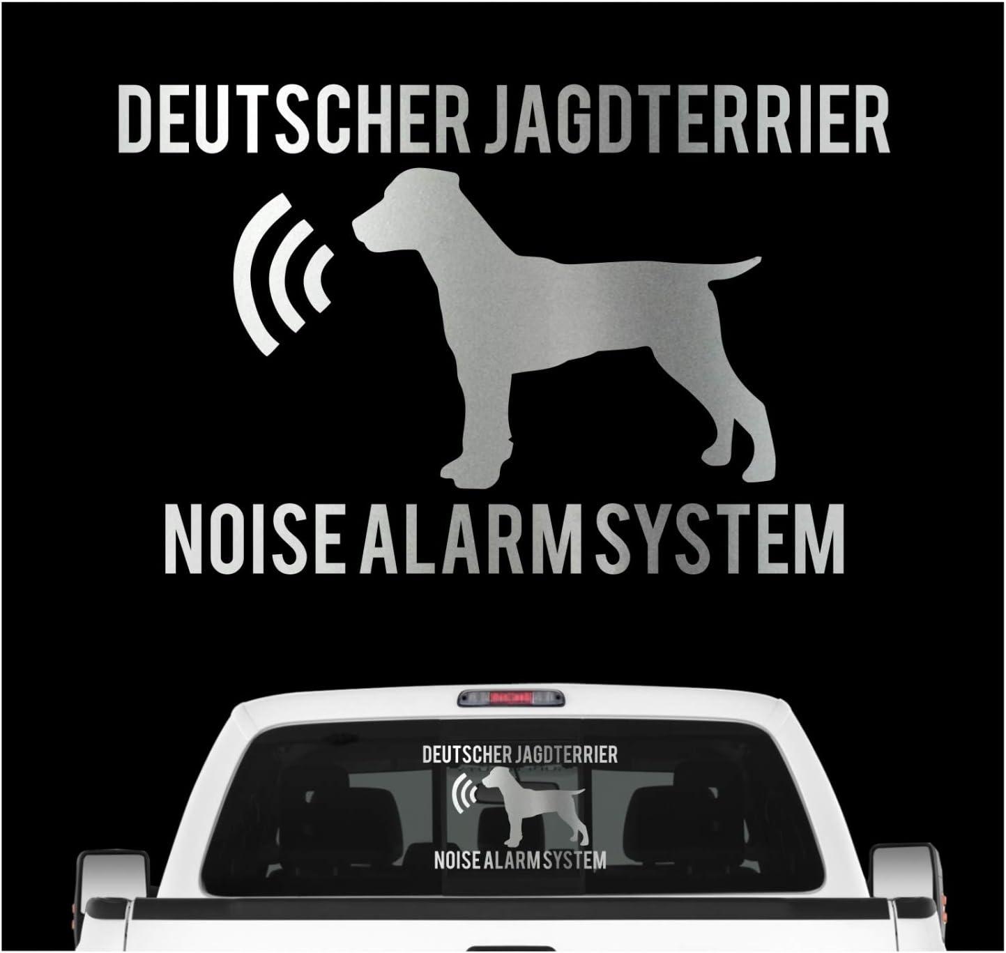 Siviwonder Deutscher Jagdterrier Noise Alarmsystem Auto Aufkleber Hund Folie Djt German Farbe Silber Metallic Größe 10cm Auto