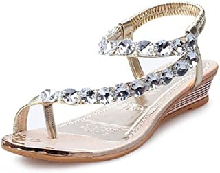 3d30d9cc69d5c ANBOO Woman Summer Sandals Rhinestone Flats Platform Wedges Shoes Flip Flops
