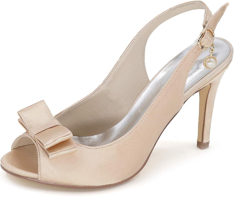 LLBubble Women High Heels Satin Bridal Sandals Peep Toe Ankle Buckle Heels Party Dress Sandals 5623-18B