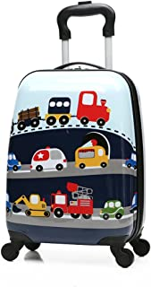 """Winsday 18"""" Kids Carry On Luggage Set Upright Hard Side Hard Shell Suitcase Travel Trolley ABS for School Girls Boys Teens"""