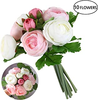ULTNICE Bridal Wedding Bouquets Artificial Camellia Flowers Home Wedding Decoration(Pink White)