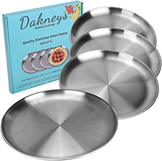 Stainless Steel Plates, Set of 4, 10-inch, Metal Plates for Dinner, Camping, and Kids, 18/8, Matte-Polished