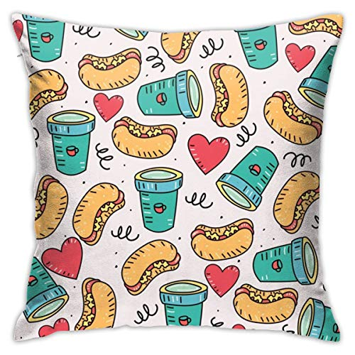 iksrgfvb Pillowcases Cushion Covers decoration Bark Hot Dog And Coffee on the Sofa car bed 45X45 CM