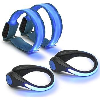 kwmobile Set de 2 brazaletes Luminosos LED Pulseras de Seguridad para Correr Ciclismo Caminar 2X Brazalete Deportivo Luminoso de Camuflaje Azul
