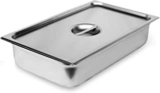 "Steam Table Pan Full Size with Cover, Hotel Pan is 4"" Deep, Made from 25 Gauge Stainless Steel, NSF Listed."