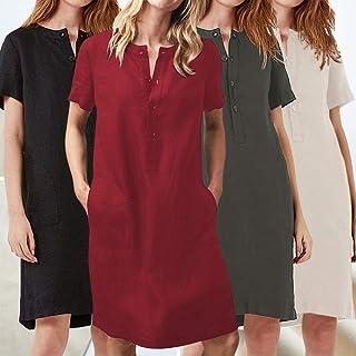 Tickas Loose Dress,Women Linen Cotton Dress Straight Midi Dress with Button Pockets Short Sleeve Solid Plus-Size Spring Su...