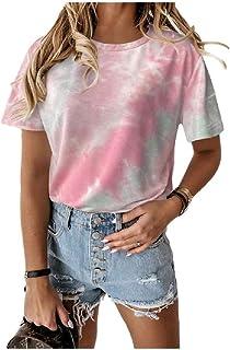 Doufine Womens Casual Crewneck Loose Tie Dye Print T-Shirt Blouse Top