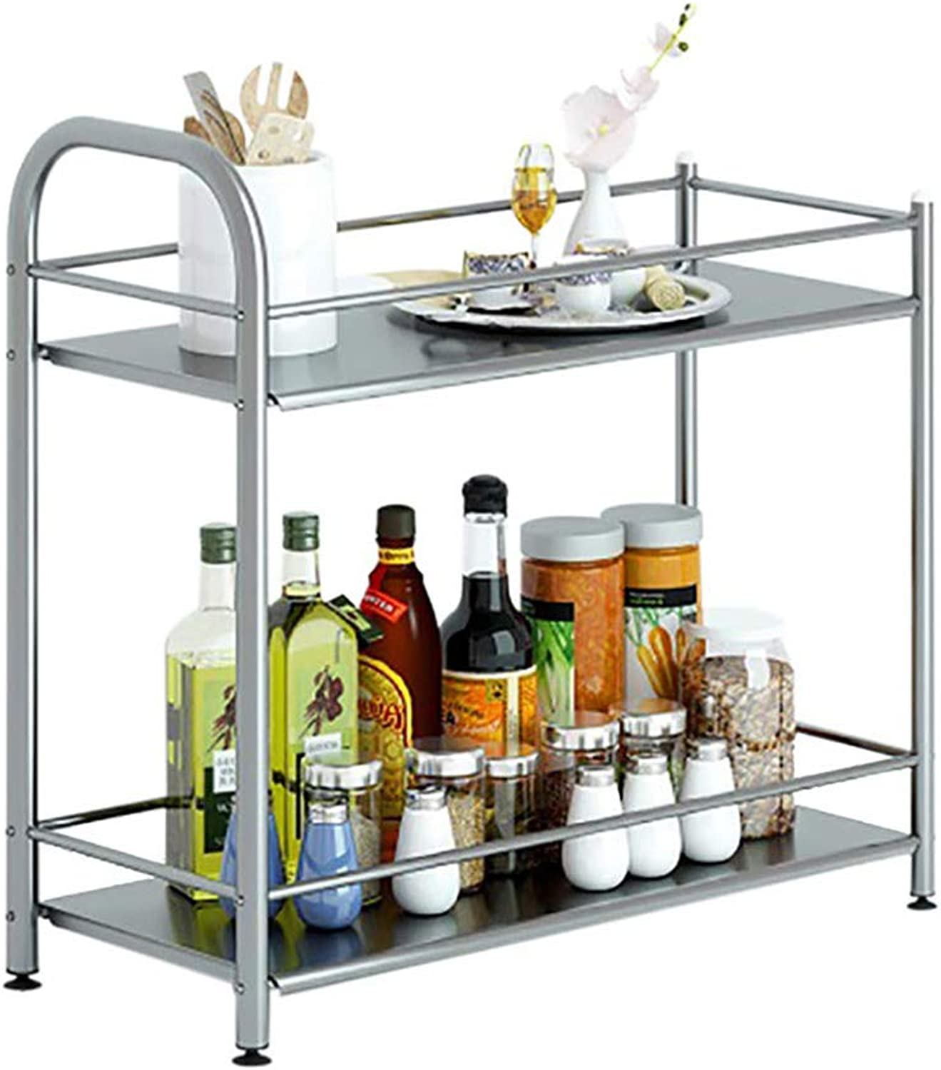 Stainless Steel Shelf, Kitchen Storage Rack, 2 Layers, Suitable for Kitchen, Bathroom, Etc.