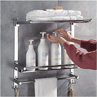 タオルレールやフックを備えたバスルームコーナーシェルフ3ティアウォールは24インチをマウントされたストレージステンレススチール棚シャワー HuiZwj-0804 (Size : 60cm)