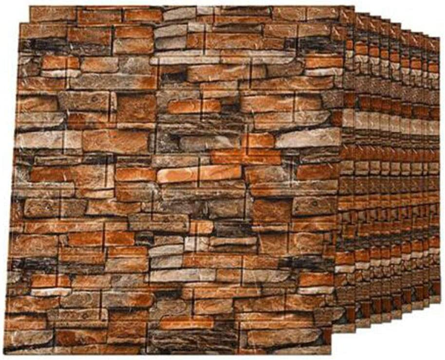 JUCAI 10 PCS 3D Brick Wallpaper Peel and Stick Panels, Vintage Faux Brick Textured Effect Self-Adhesive Wall Paper for Living Room TV Wall and Home Decor (58 Sq Ft),Brick red