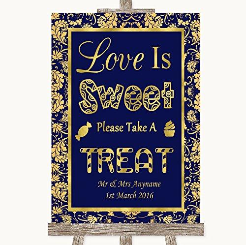 Blauw & Goud Bruiloft Teken Collectie Blauw & Goud Liefde is Zoet Neem Een Behandel Snoep Buffet Bruiloft Teken Framed Oak Small