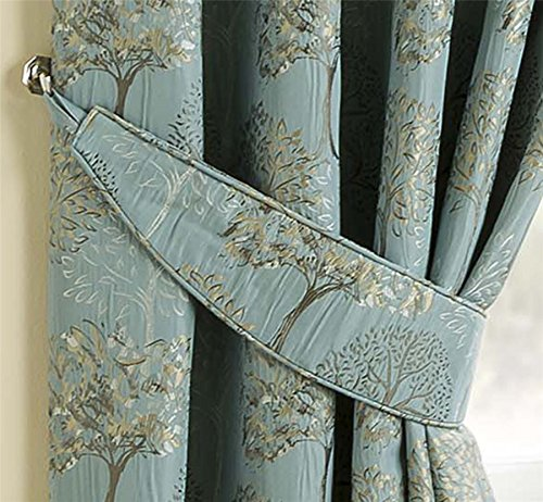HOMESCAPES Duck Egg Blue Jacquard Curtain Tie Backs Set of 2 Complementing Pencil Pleat Lined Curtains Pair Embroidered Tree Design