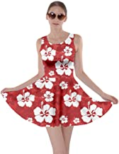 red hibiscus dress