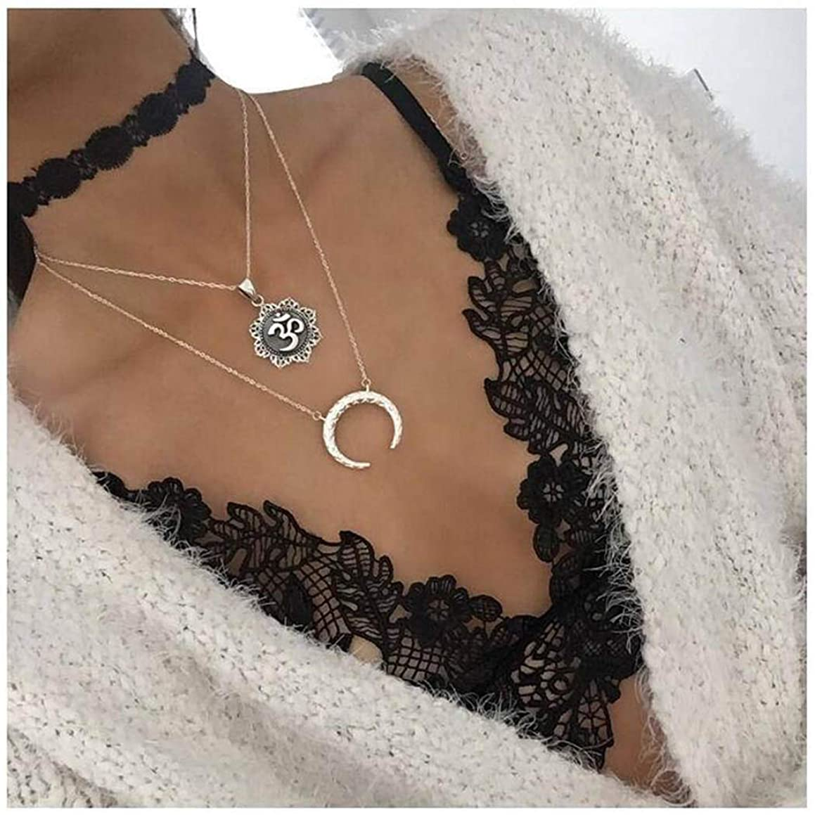 Bohemian Tree of Life Moon Pendant Necklace Fashion Crescent 3D Rune Flower Chain Adjustable Jewelry Silver Plated for Women and Girls (Silver A)