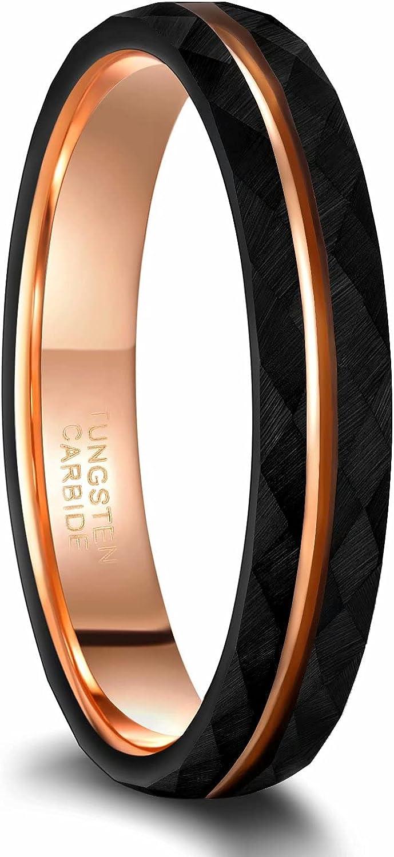 Frank S.Burton 4mm 6mm 8mm Black Tungsten Rings for Men Women 24K Rose Gold Line Faceted Wedding Bands Ring Brushed Matte Finished Comfort Fit Size 5-14
