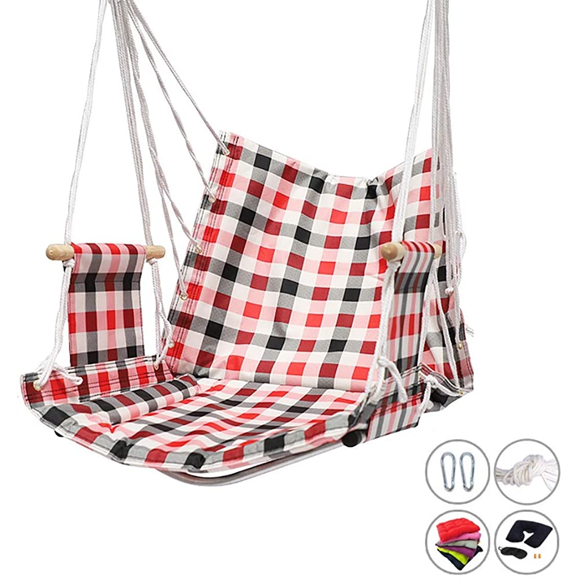 YXX- Hanging Rope Chair Swing Seat, Handmade Hammock Chair with 2 Hooks for Home Patio Deck Yard Garden Reading Leisure (Color : Style-1)