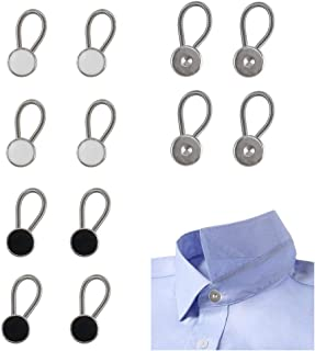 Collar Extenders ManYee 12pcs MetalCollarButtonExtenders Dress Shirt Wonder Buttons Extenders for Pant Shirt Suits Trouser Coat (Black, White, Silver)