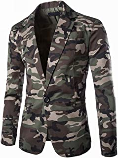 XWLY Men Jacket Men Business Jacket Slim Fit Fashion Button Camouflage Long Sleeved Spring and Autumn Holiday Party Weddin...