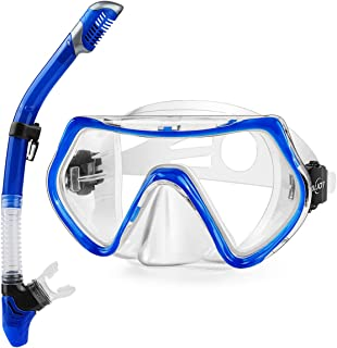 AiJoy Snorkeling Set Dry Top Tempered Glass Anti-Fog Diving Mask Snorkel Set for Men and Women