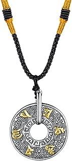 JAJAFOOK Men's Stainless Steel Tibetan Buddhist Mantra Om Mani Padme Hum Prayer Pendant Necklace