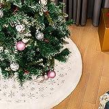 Blanca Faldas para el Árbol de Navidad con Copos de Nieve Plata, Peluche 48 Pulgadas de P...