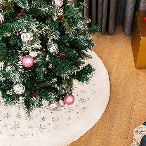 Blanca Faldas para el Árbol de Navidad con Copos de Nieve Plata, Peluche 48 Pulgadas de Piel Sintética Christmas Tree Skirt Base para Navidad Fiesta Vacaciones en casa decoración (Plata, 48 Pulgadas)