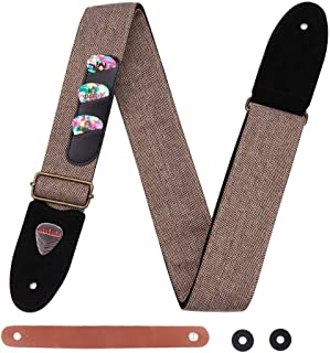 Guitar Strap 100% Soft Cotton Genuine Leather Ends Strap with Pick Pocket, 3 Picks Included for Acoustic Guitar, Electric Guitar, Bass, Banjos (Brown)