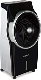 oneConcept Kingcool – 4 en 1, ventilador, enfriador de aire, humidificador, limpiador de aire, ionizador, depósito de agua de 8 litros, caudal de 2340 m³/h, 95 W, oscilación, portátil, negro antracita