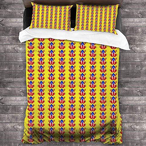Imodest beddengoedset 3-delig kikker rood geel met ritssluiting en 2 kussenslopen voor slaapkamer of slaapkamer