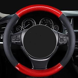 GBHJJ bil ratt överdrag, Carbon rattskydd av äkta läder bil bil rattskydd, hållbar, halkfri, universal passform 15 tum (sv...