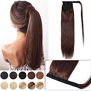14 Inch Wrap Around Hair Ponytail Extensions Remy Human Hair Magic Paste Binding Pony Tail Hairpiece with Comb for Women One Piece #4 Medium Brown Long Straight