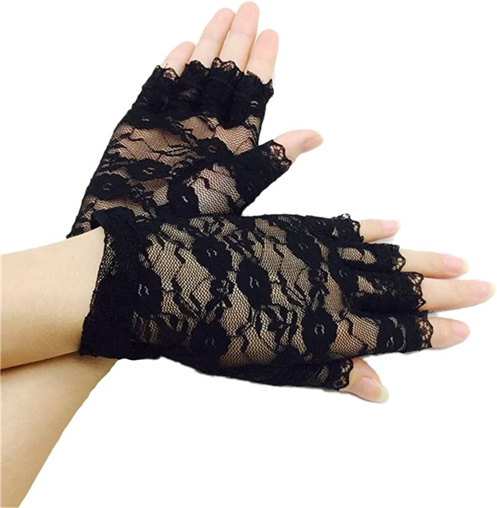 Ealafee Women Short Lace Half Finger Gloves for Wedding Bridal Prom Party Gloves