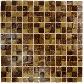Brown Gold Copper Glass Tile Blend 3/4
