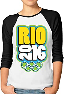 IGiGT Raglan Shirt Brazil Rio Olympics 3/4 Sleeve Tees For Women