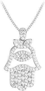 Tuscany Silver 标准纯银镀铑方晶锆石法蒂玛之手吊坠