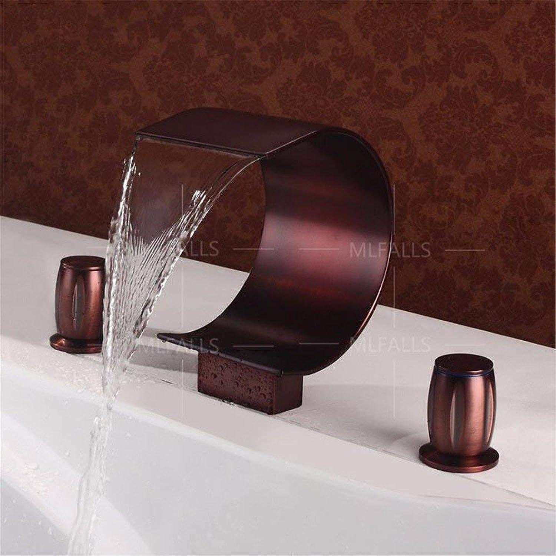 GFF Antike Messing schwarz Bronze Doppelgriffe DREI Lcher Keramikventil Wasserfall Auslass Bad Waschtischmischer dreiteilig Waschbecken Wasserhhne Waschtischmischer Badezimmer Wasserhahn