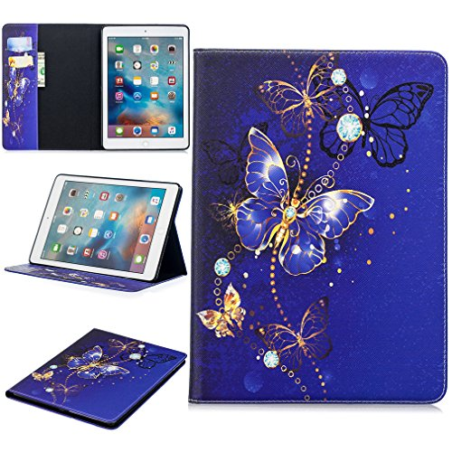 LMFULM Case for Apple iPad 2018/2017 / Air/Air 2 (9.7 Inch) PU Leather Case Dreamy Blue Butterfly Pattern Stent Function Holster Flip Cover for iPad 2017/2018/ Air/Air 2
