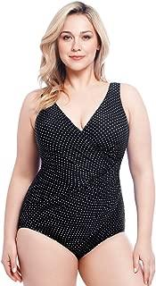 Women's Swimwear Plus Size Pin Point Oceanus Soft Cup Tummy Control One Piece Swimsuit