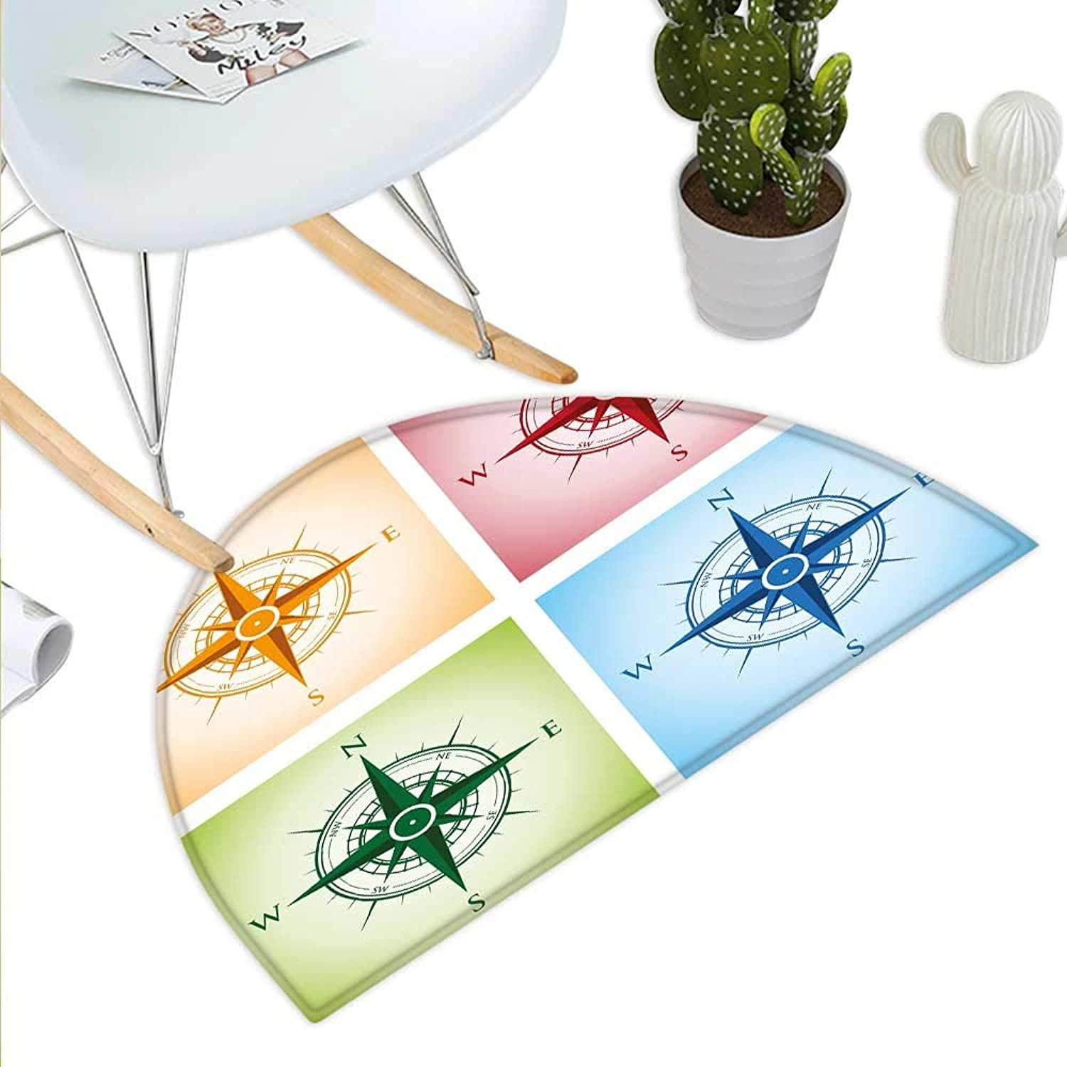 Compass Half Round Door mats colorful Compasses Windpink Finding Directions Discovery Directions Pathfinding Bathroom Mat H 43.3  xD 64.9  Multicolor