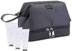 LUCKY FLOWER Toiletry Bag with Free Travel Bottles Waterproof Shaving Dopp Kit (Dark Gray)